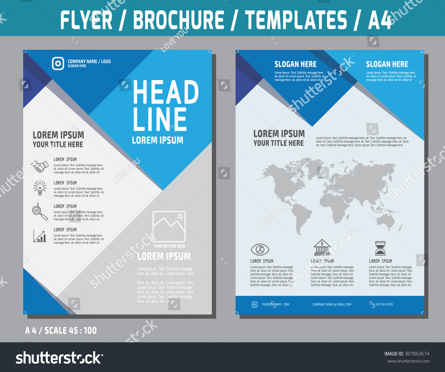 flyer design vector template in a4 size  brochure booklet