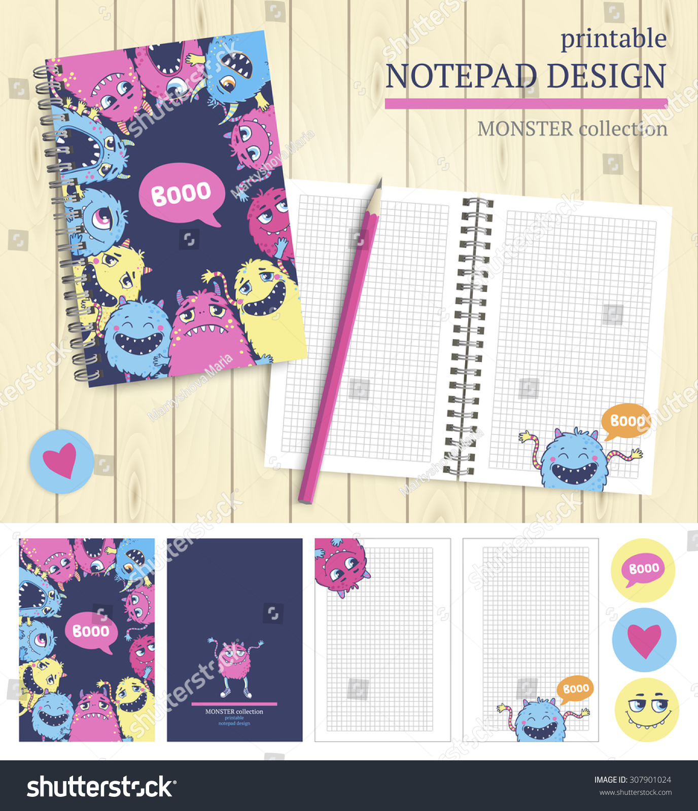 Vector Printable Notepad Design Cover And Papers With Cartoon Monsters.