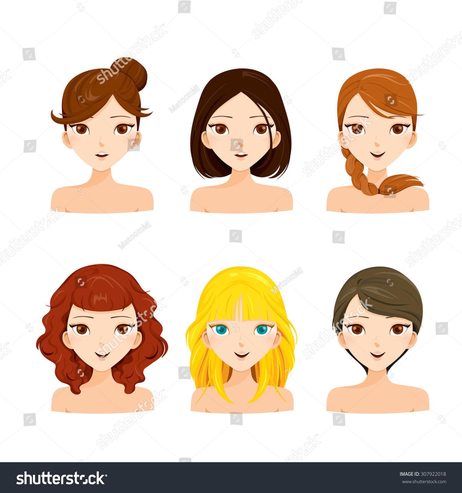 young women faces with various hairstyles hair colors
