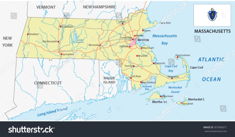 Massachusetts Road Map Flag Stock Vector 307980071 Shutterstock