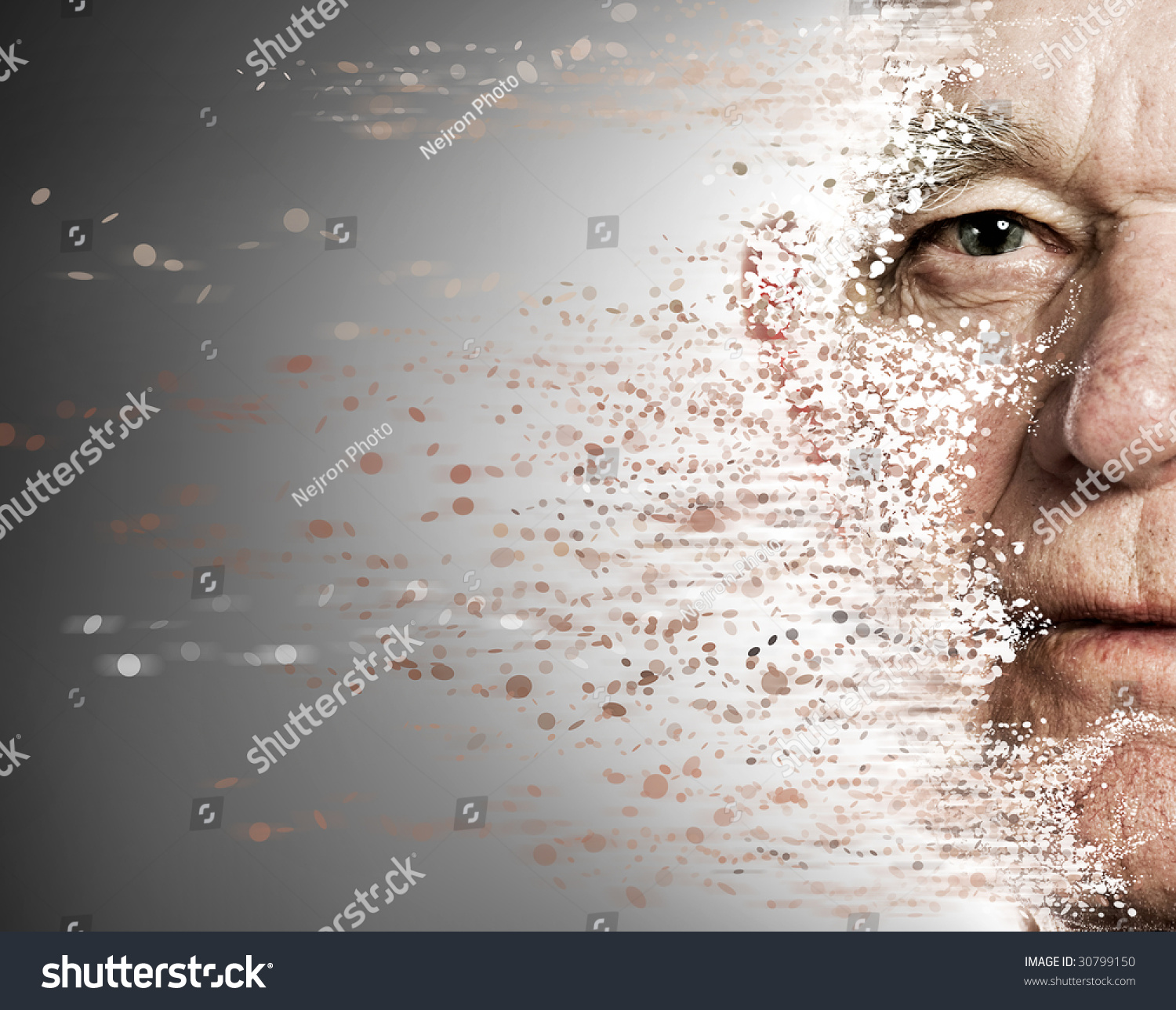 I Fall Apart Music Id: Elderly Man'S Face Falling Apart. Aging Concept Stock