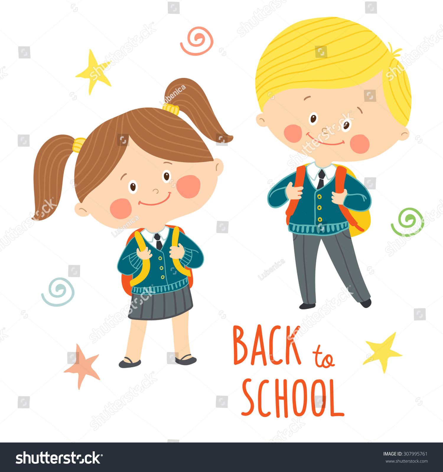 Funny Hand Drawn Kids School Uniforms Stock Vector ...