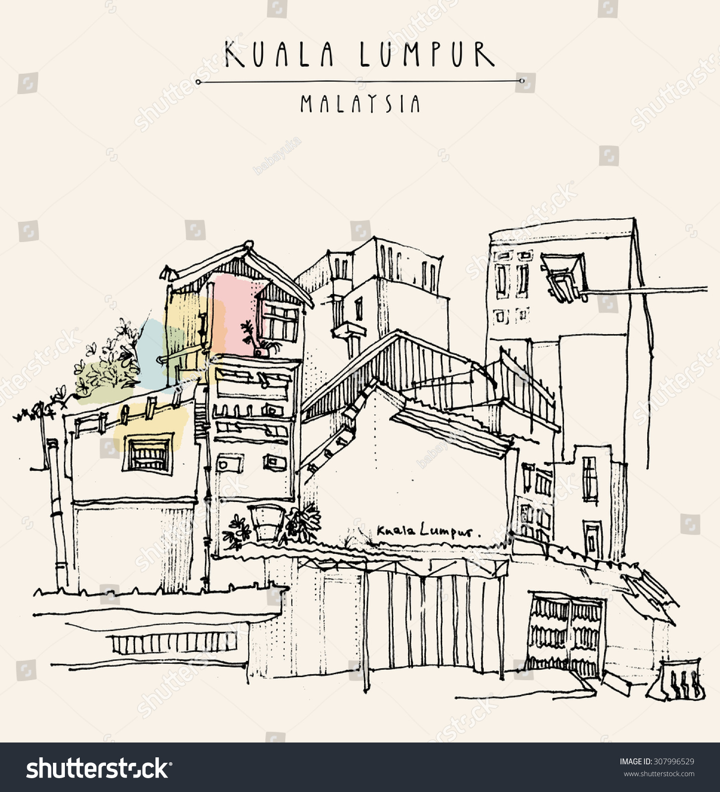 Kuala Lumpur Malaysia Casual View Of Buildings In China Town