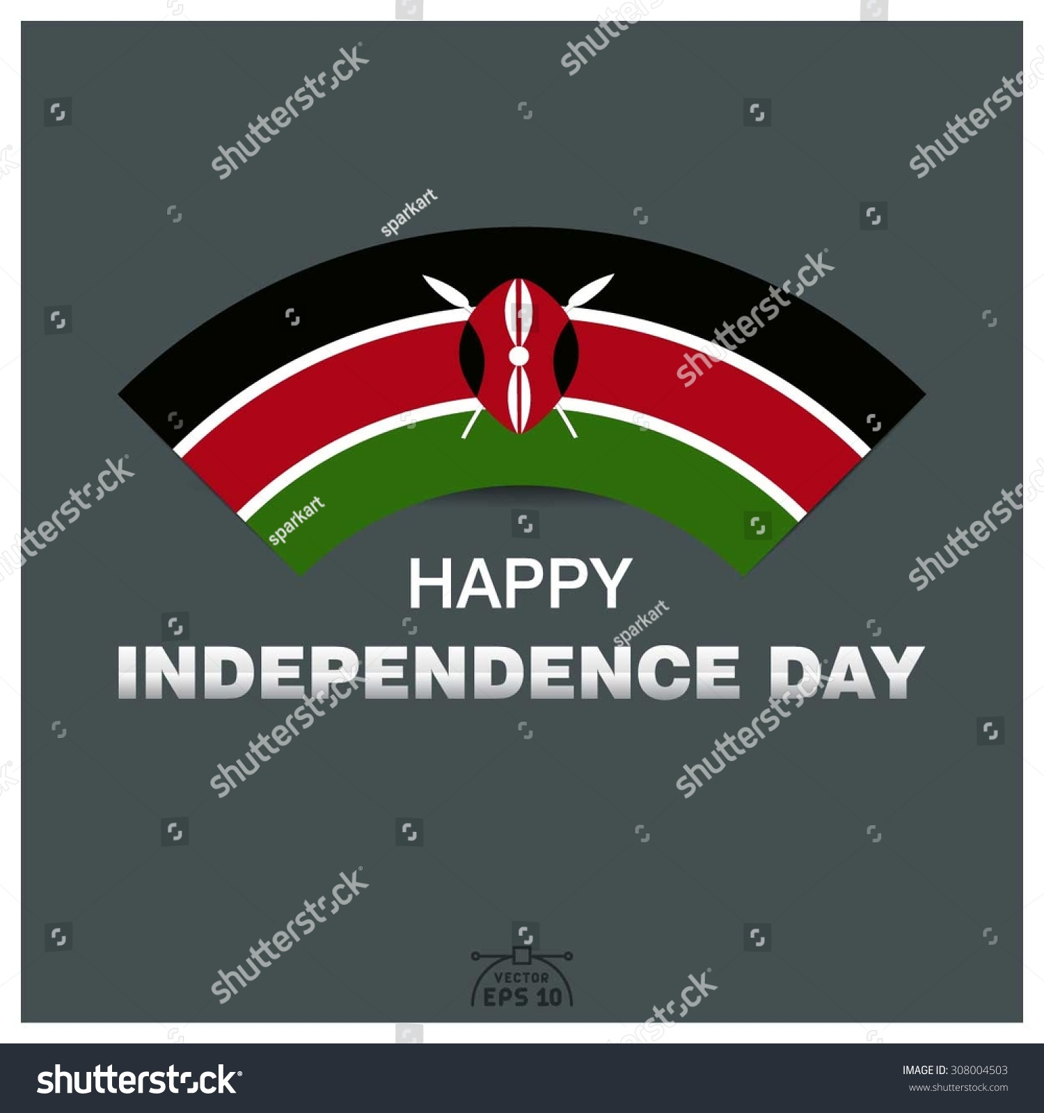 Happy Independence Day Republic Kenya Stock Vector