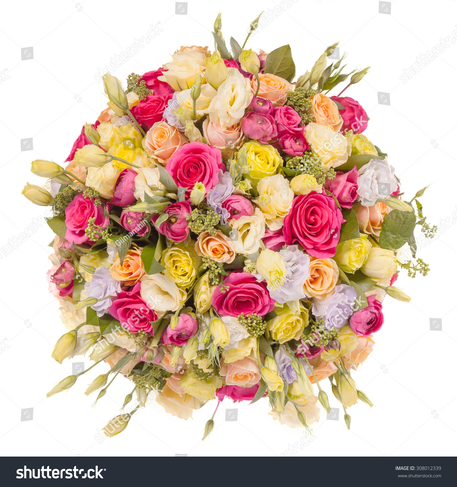 Bouquet flowers top view isolated on stock photo 308012339 for Biggest bouquet of flowers