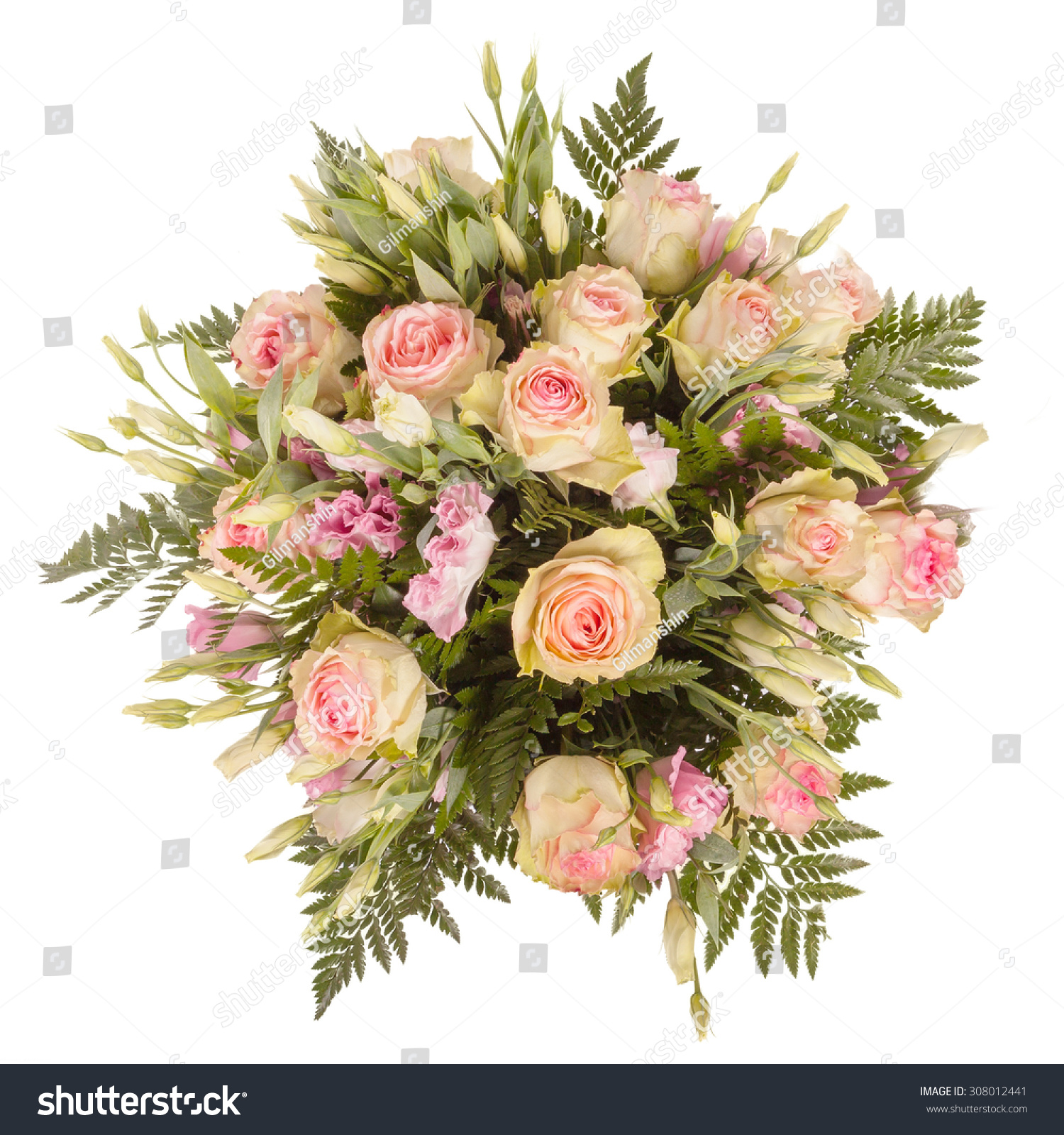 Royalty Free Bouquet Of Flowers Top View Isolated On 308012441