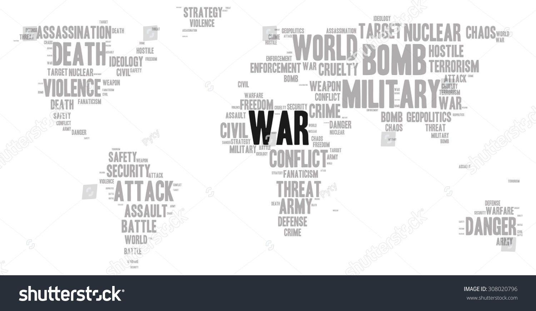 War word cloud shape world map vector de stock308020796 shutterstock war word cloud in a shape of world map silhouette gumiabroncs Image collections