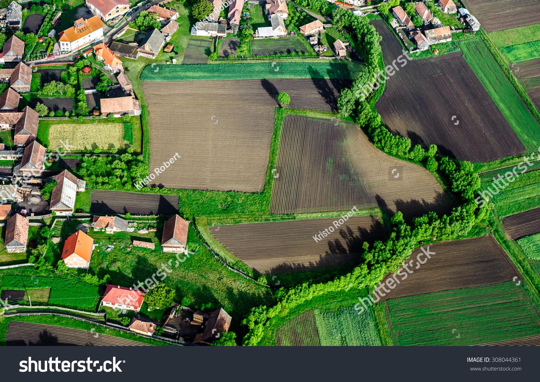 Bird Eye View Countryside Village Fields Stock Photo