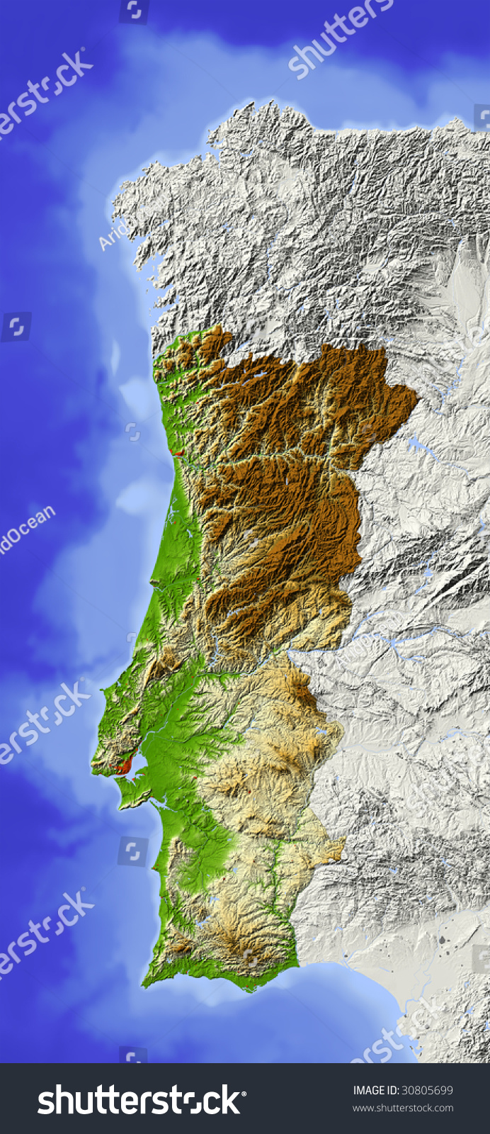 Portugal Shaded Relief Map Surrounding Territory Stock - Portugal geology map