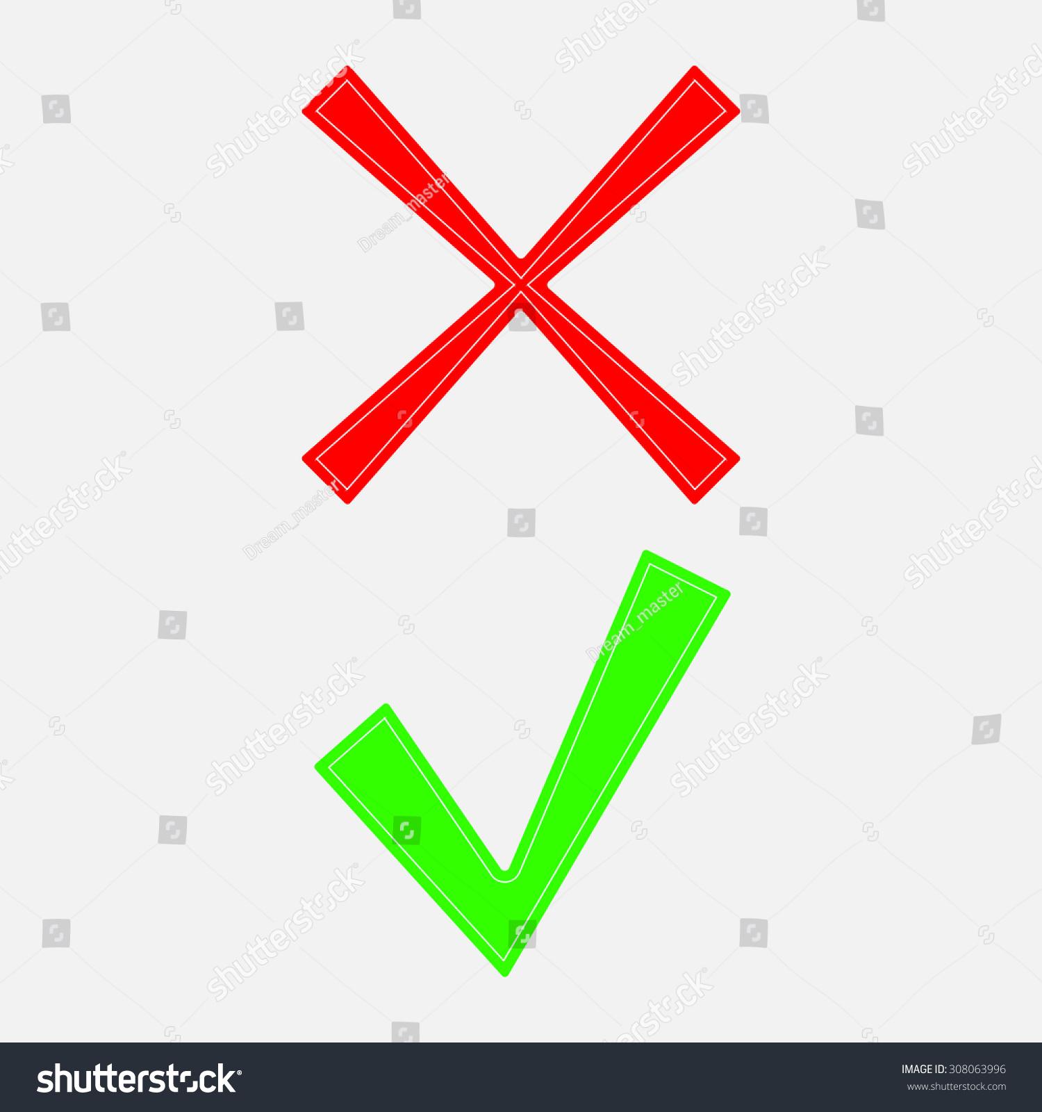 Tick Cross Icons Yes No Symbols Stock Vector Royalty Free