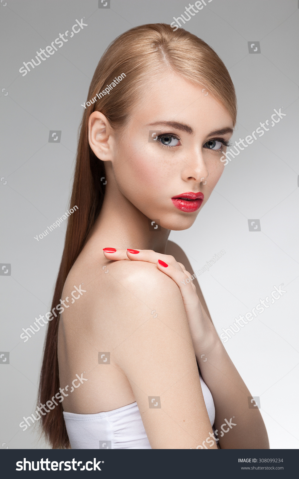 young nude model Portrait of young beautiful attractive girl model with natural fresh  beauty, perfect clean skin and