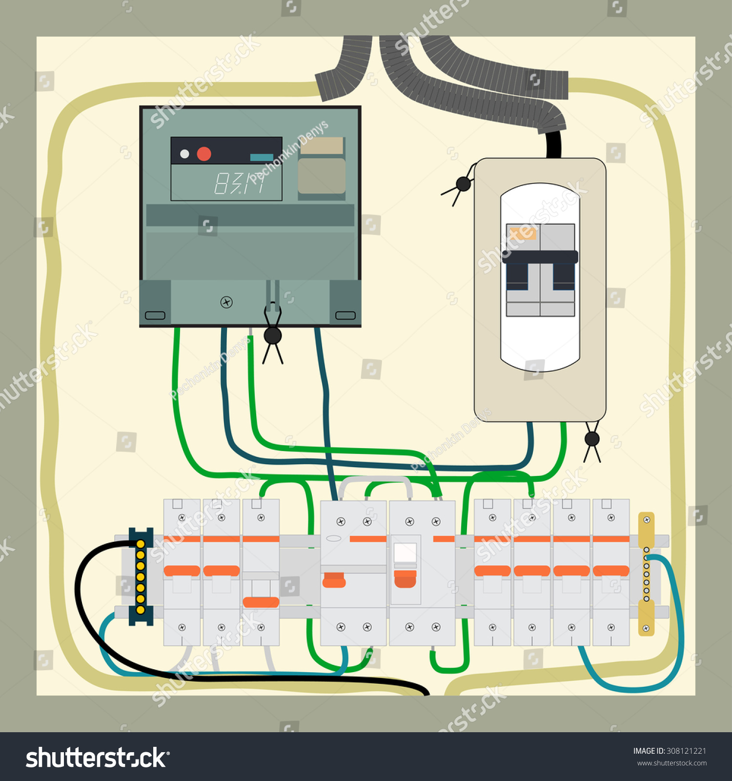 Picture Electrical Panel Electric Meter Circuit Stock Illustration E Diagram Of The And Breakers