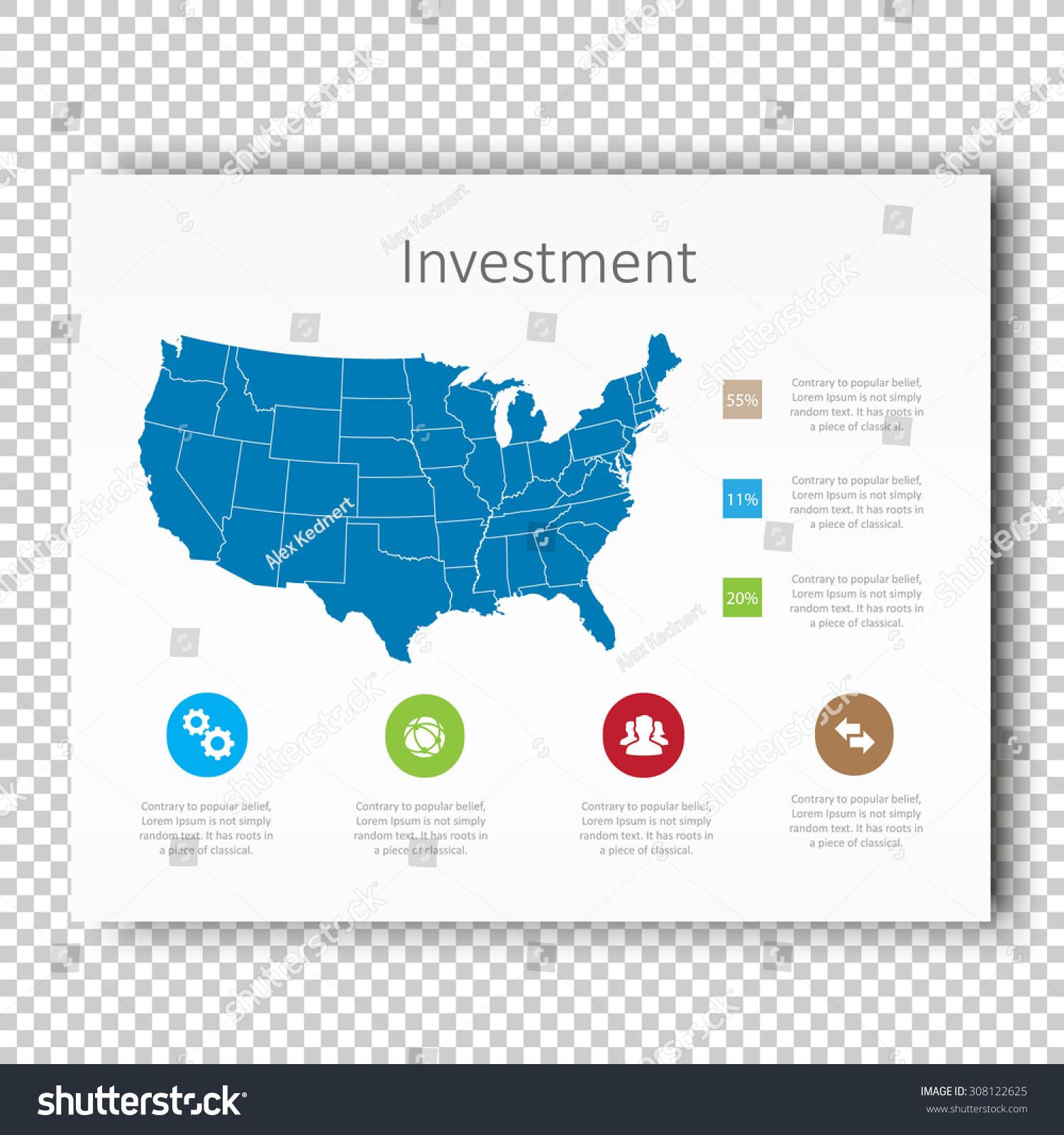 Infographic Investment Usa Map Presentation Template Stock Vector - Usa map template
