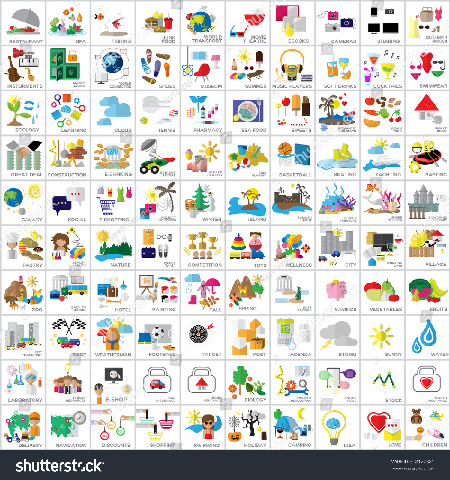 Flat Icons Set Vector Illustration Graphic Stock Vector