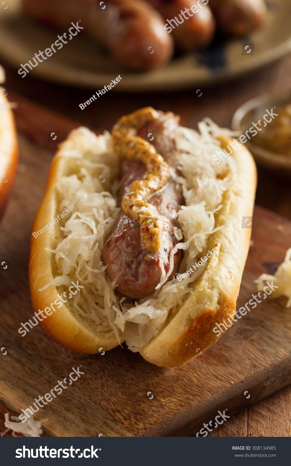 Beer Bratwurst With Sauerkraut And Spicy Mustard Stock Photo 308134985 ...