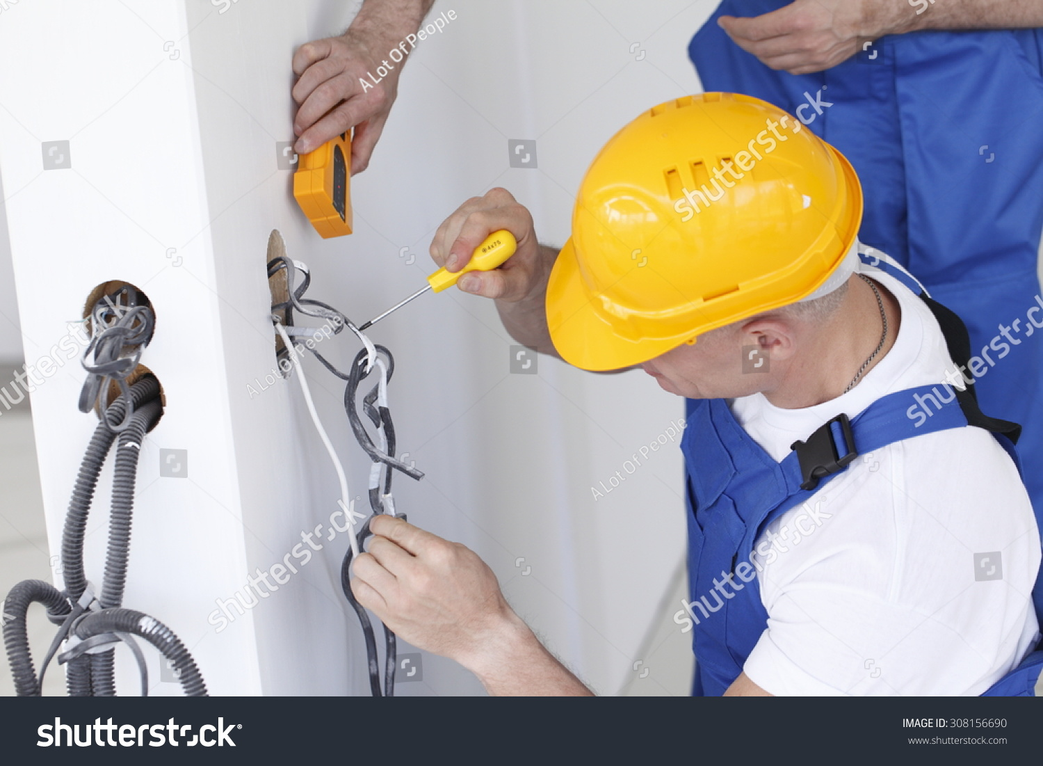 Electrician Making Wiring New House Stock Photo Edit Now 308156690 At