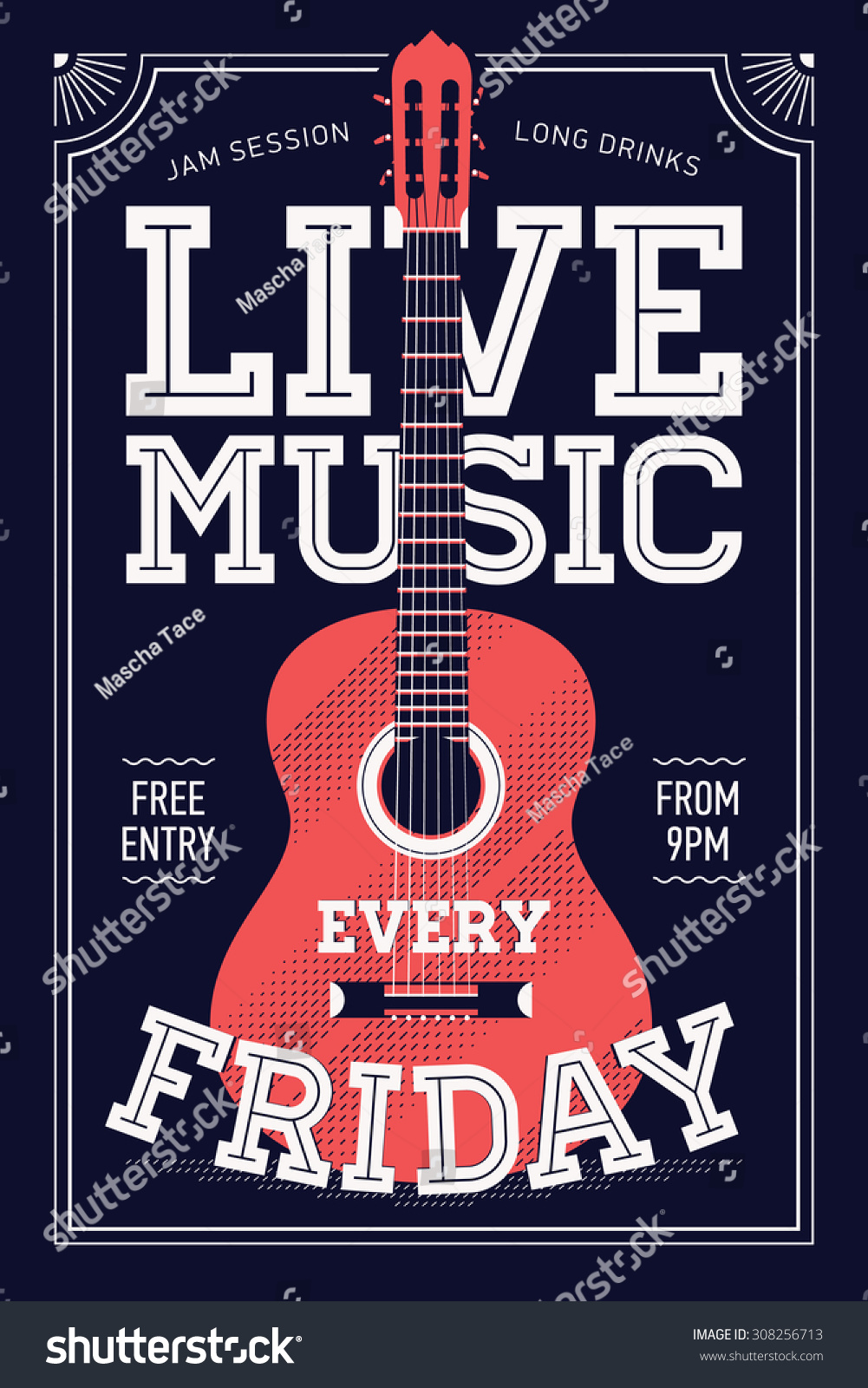 Beautiful Live Music Every Friday Vector Stock Vector (Royalty Free