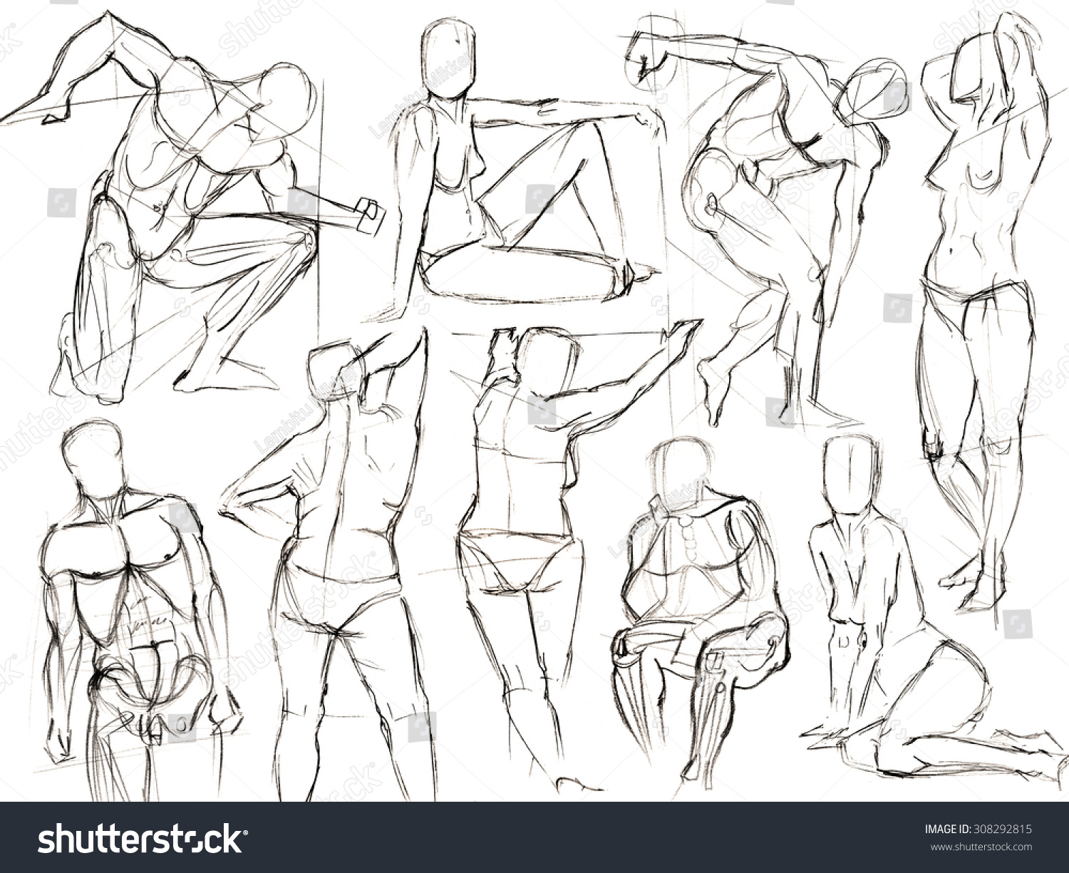 Classic black and white pencil drawing of human figures sketch