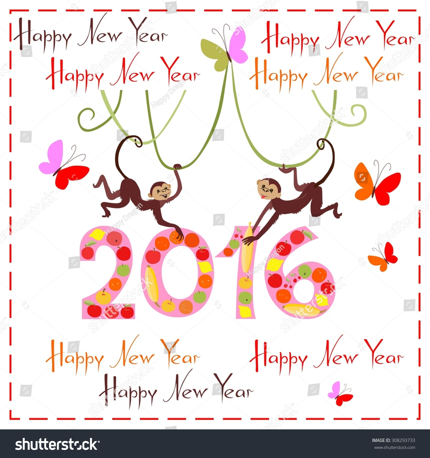 Happy New Year Greeting Card Cute Stock Vector Royalty Free