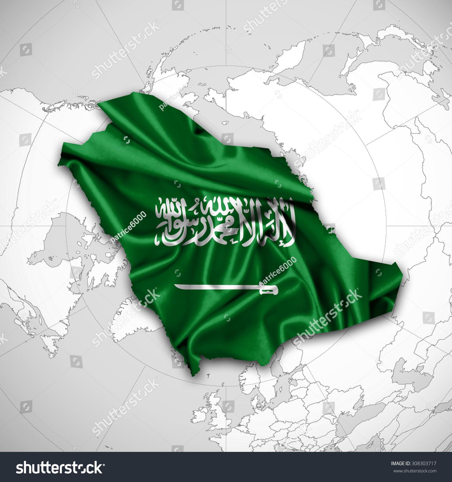 Saudi Arabia Flag Map Silk World Stock Illustration 308303717 ...
