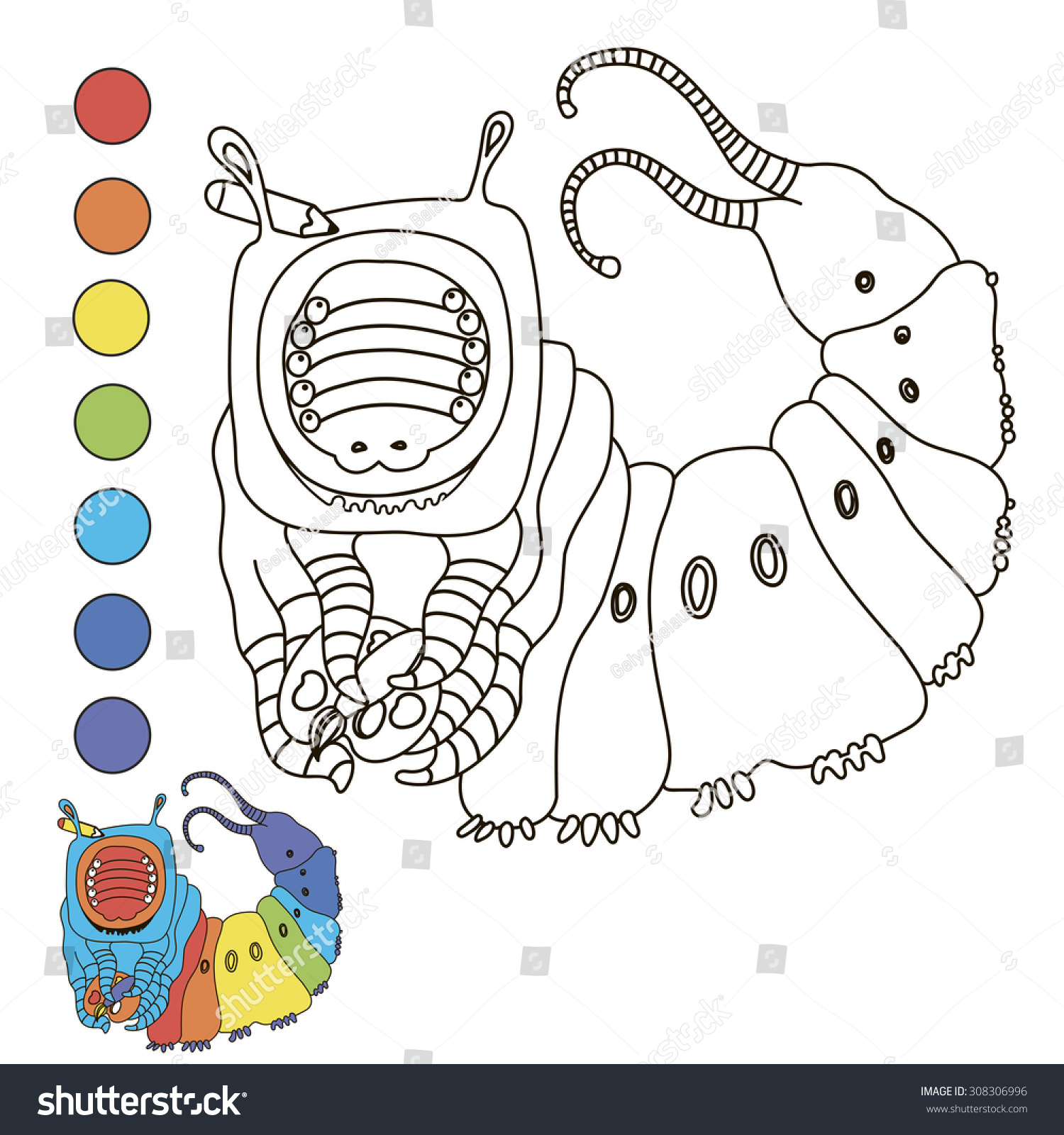 Coloring Book Caterpillar Stock Vector 308306996