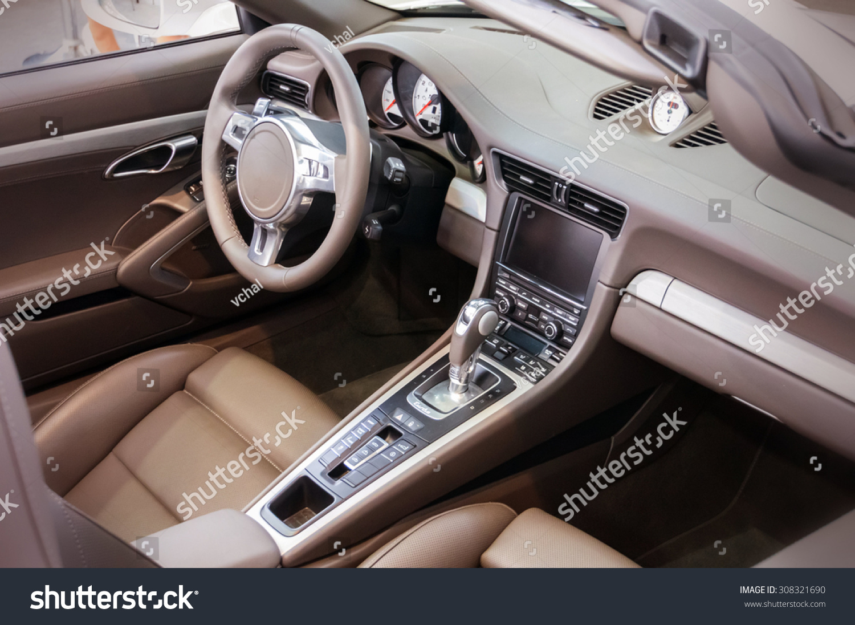Car interior photos - Dark Luxury Car Interior Steering Wheel Shift Lever And Dashboard