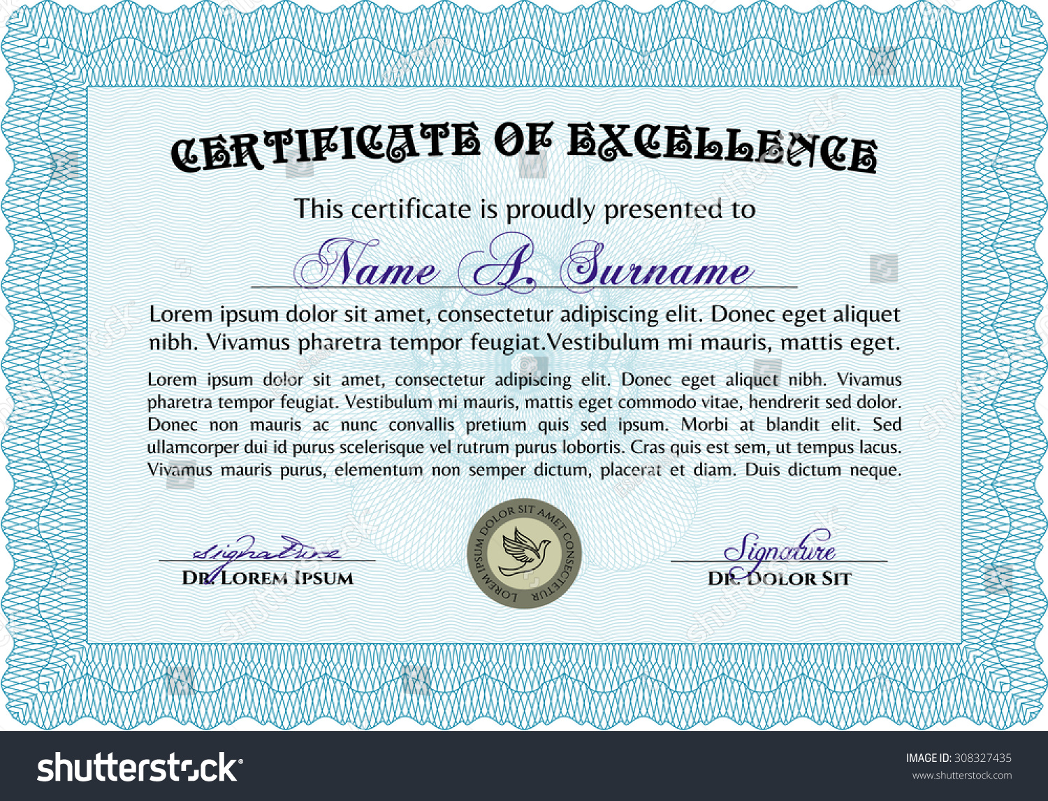 Certificate Of Achievement Template. With Guilloche Pattern. Diploma Of  Completion.Retro Design.  Certificates Of Achievement Free Templates