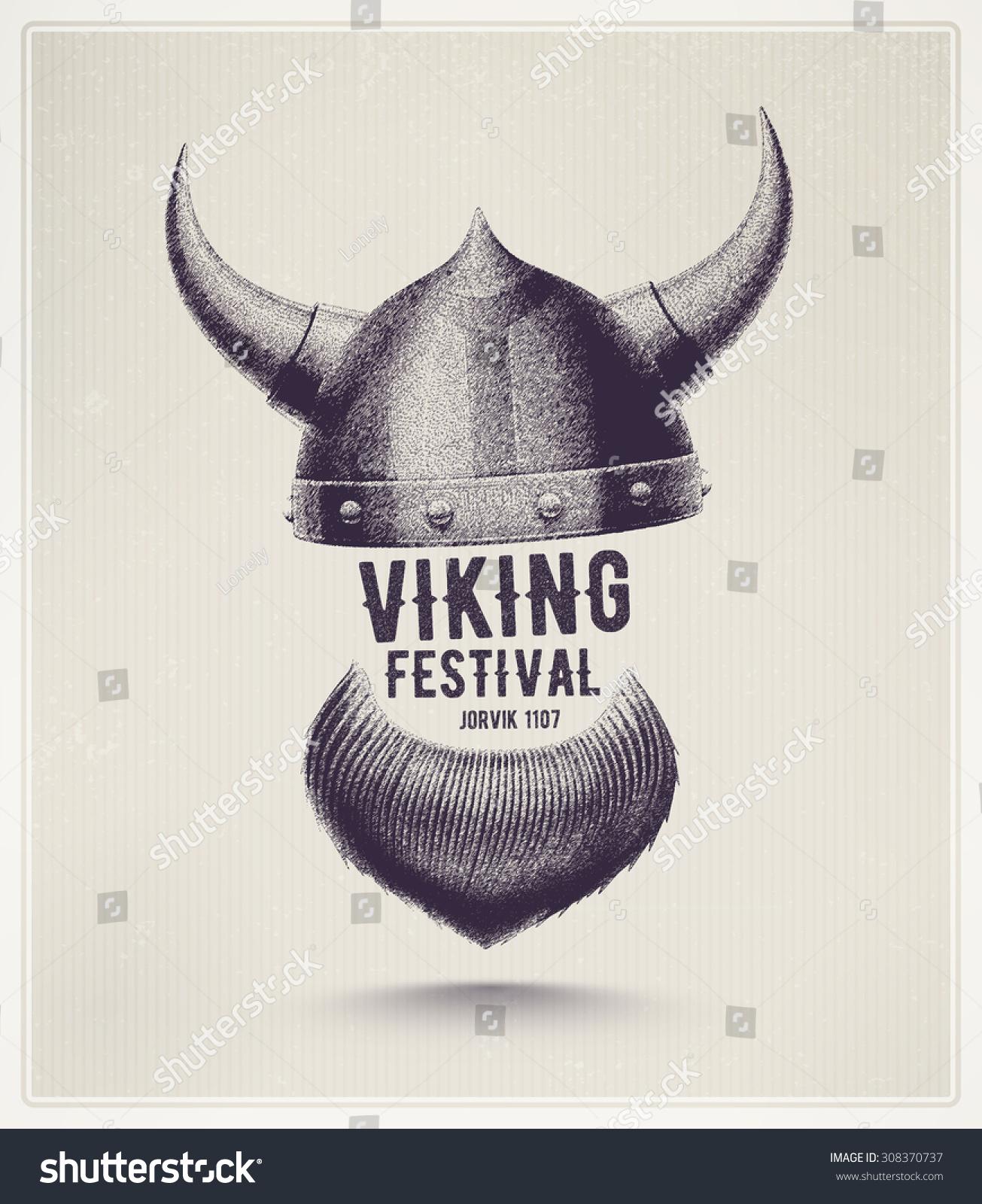 Viking Helmet Beard Jorvik Viking Festival Stock Vector Royalty