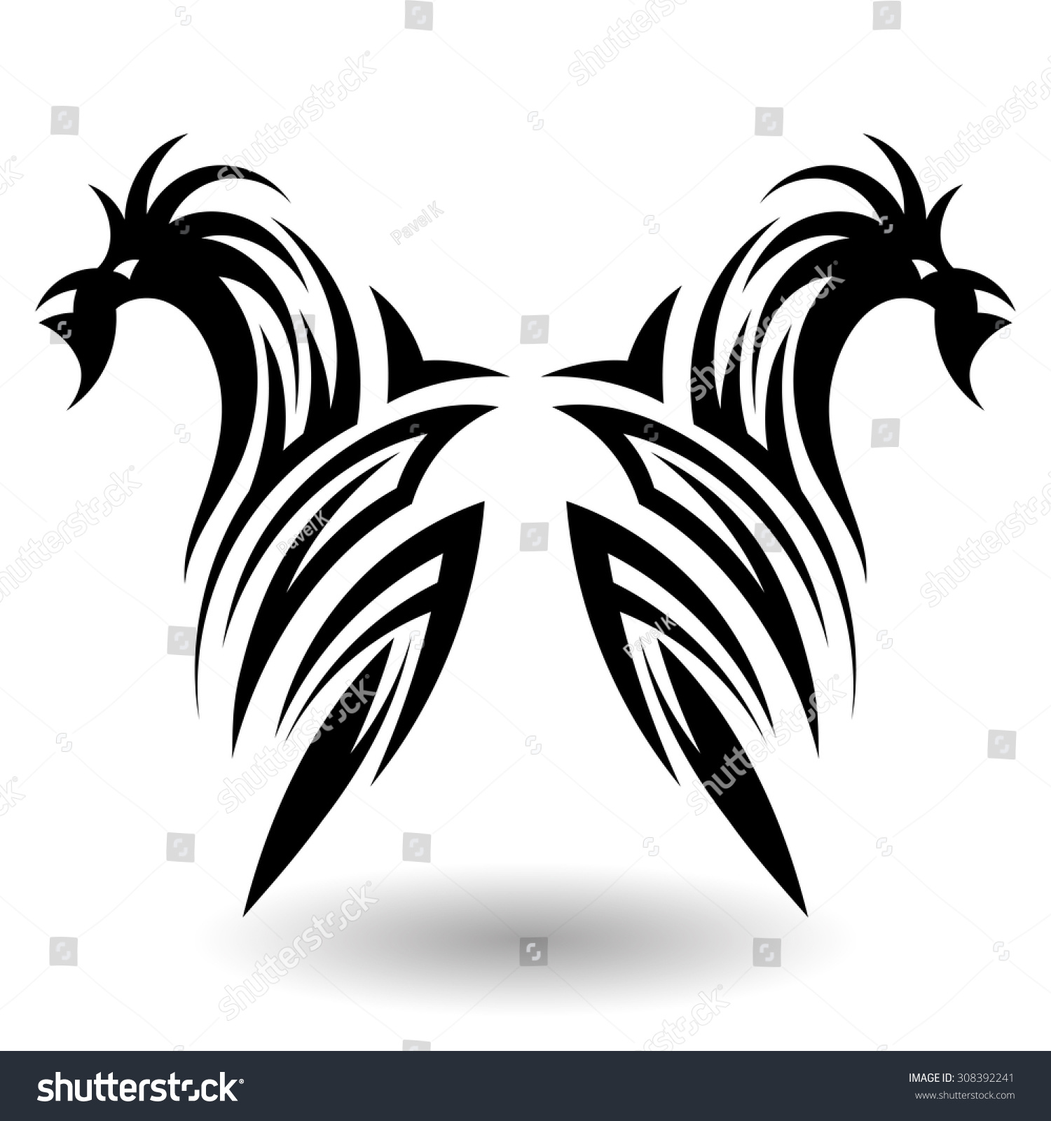 38fb23bd9359b Hand Drawn Tribal Tattoo in Wings Shape. . Elegant Smooth Design Over White  Background.