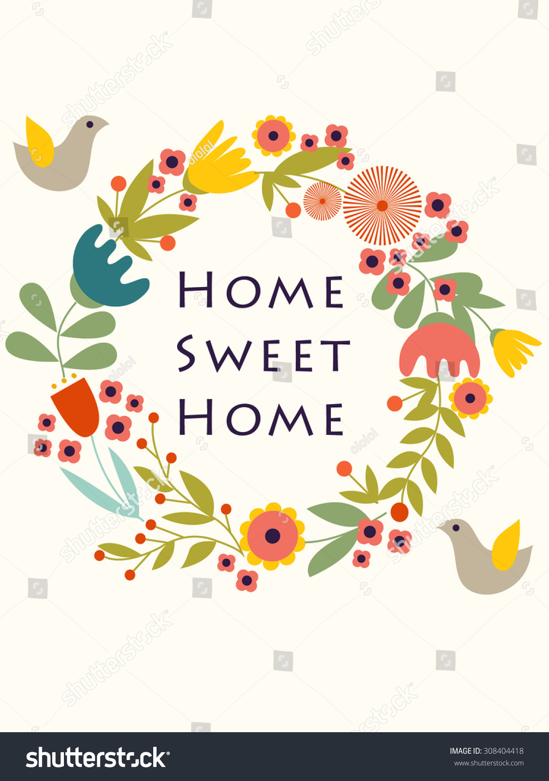Home Sweet Home Poster Eps 8 Stock Vector Royalty Free 308404418