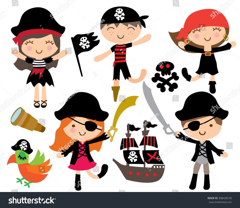 cute pirate kids pirate ship stock vector 308428130 shutterstock