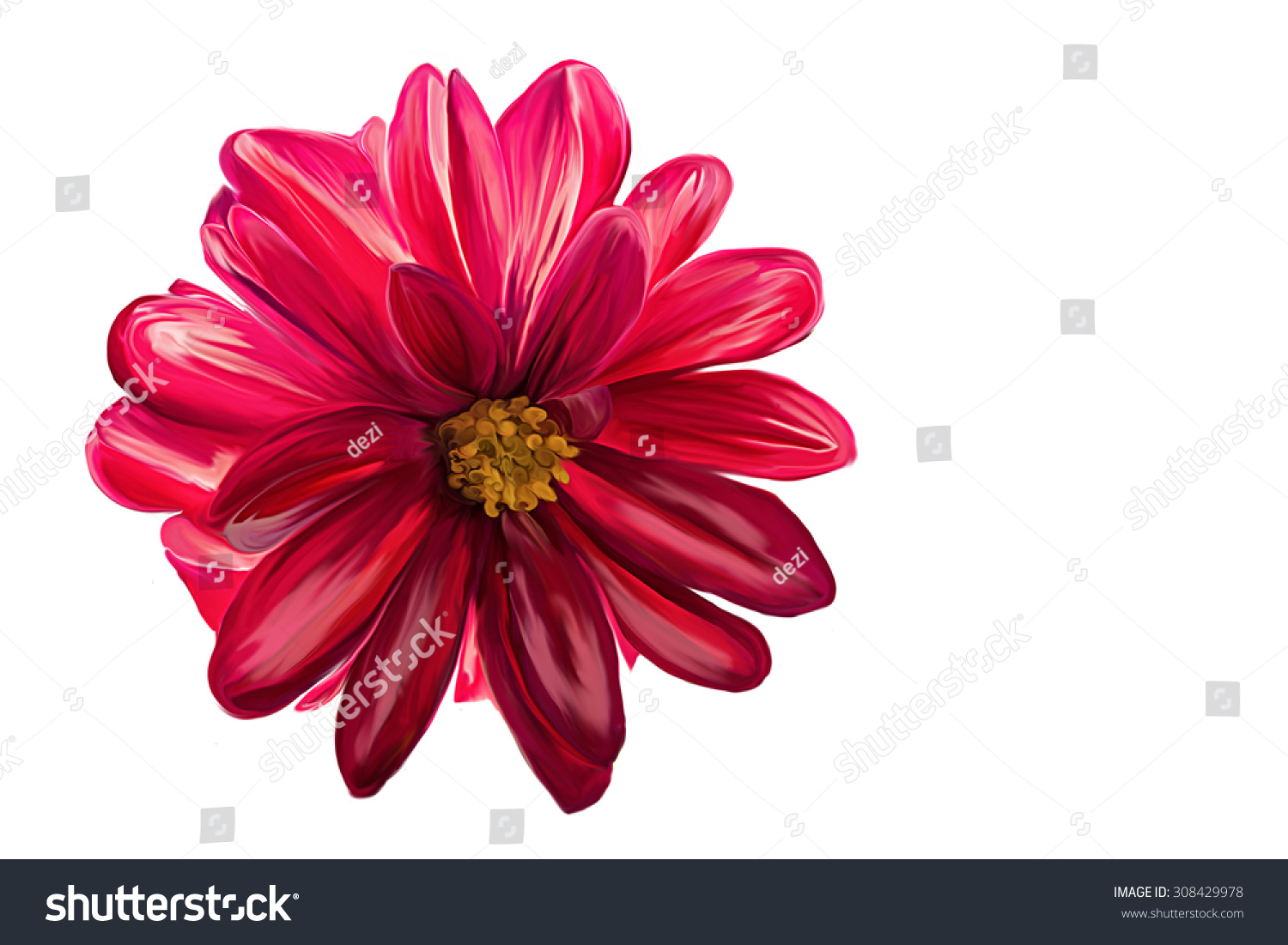 Drawing Oil Painting Red Dahlia Flower Stock Illustration 308429978