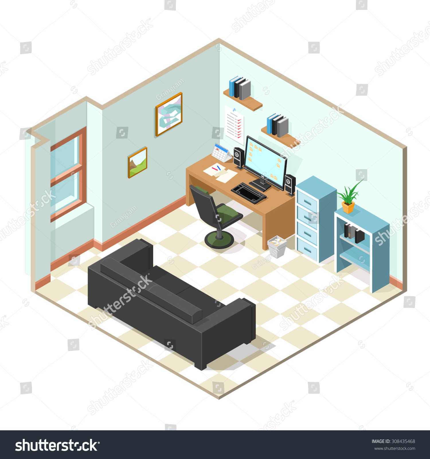 Vector Illustration Office That Been Set Stock Vector (Royalty Free ...