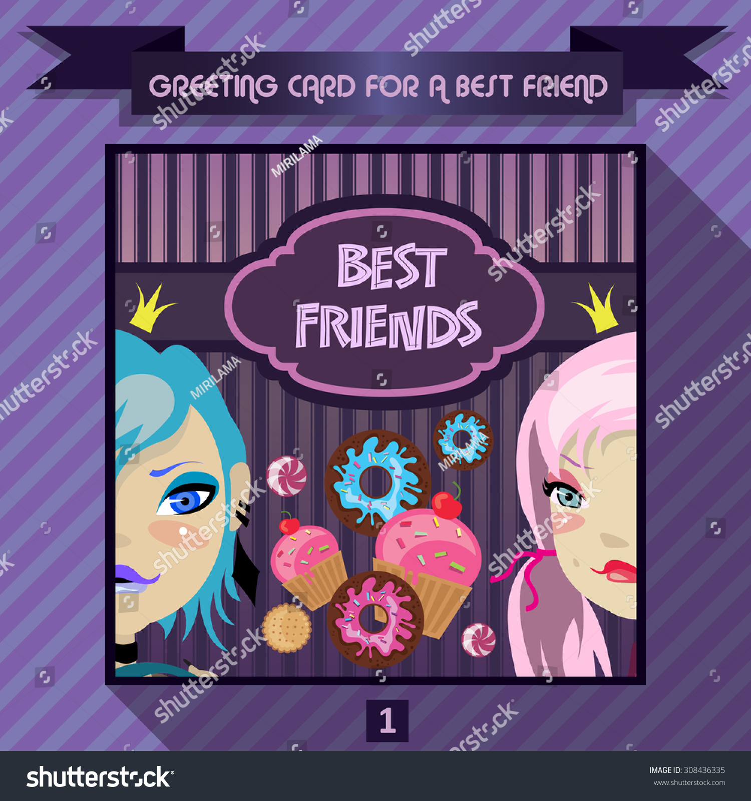 Greeting Card Best Friend Birthday Greetings Stock Vector Royalty