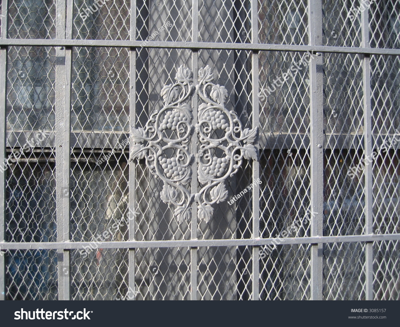 decorative security bars on window stock photo 3085157