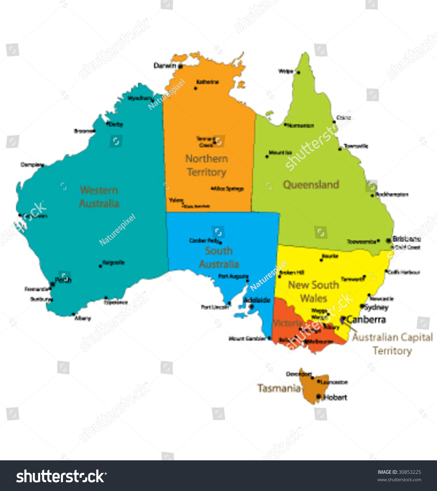 Australia Map Cities And States – Australia Map with States and Capital Cities