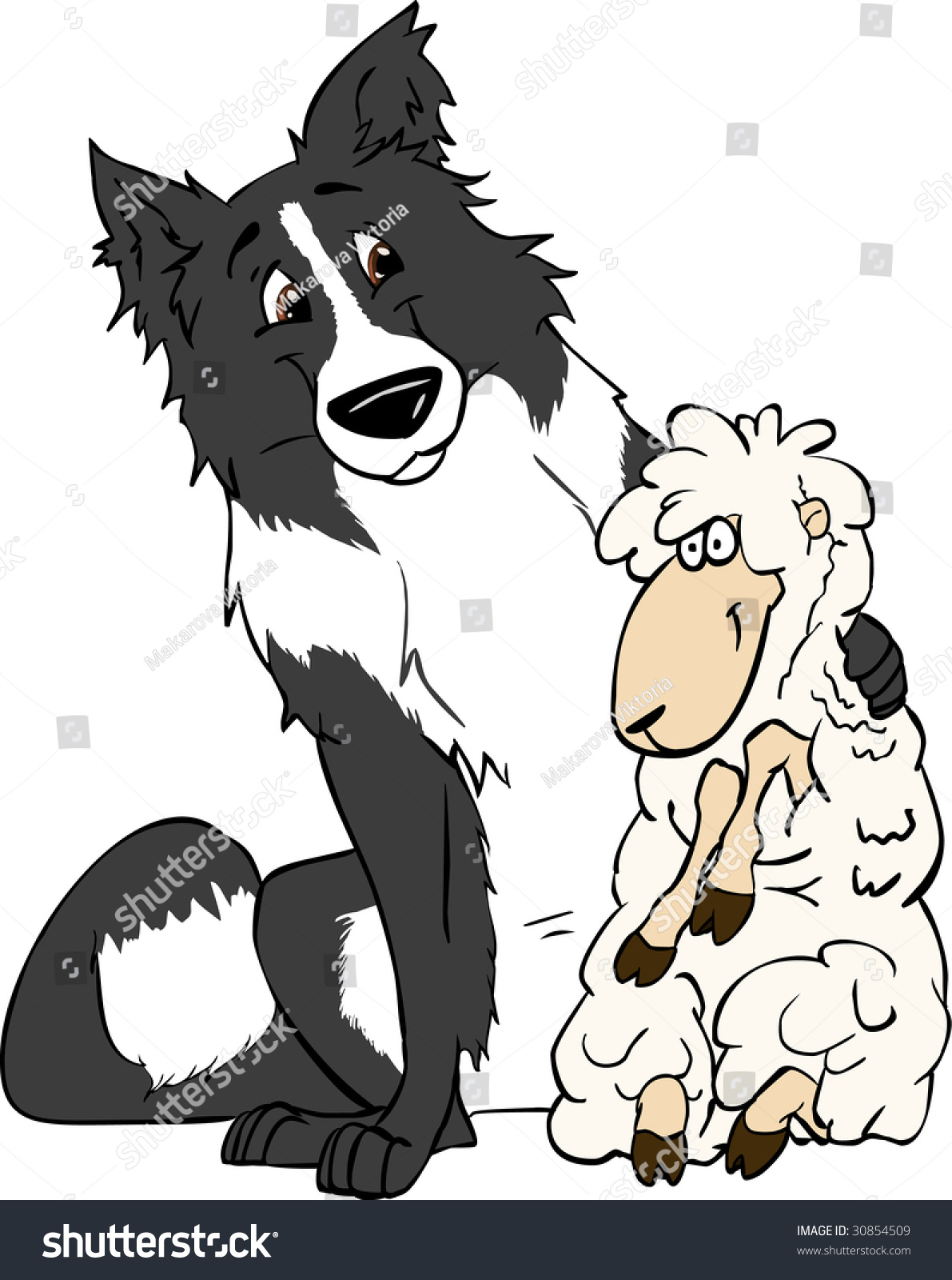 border collie sheep friends vector illustration stock vector