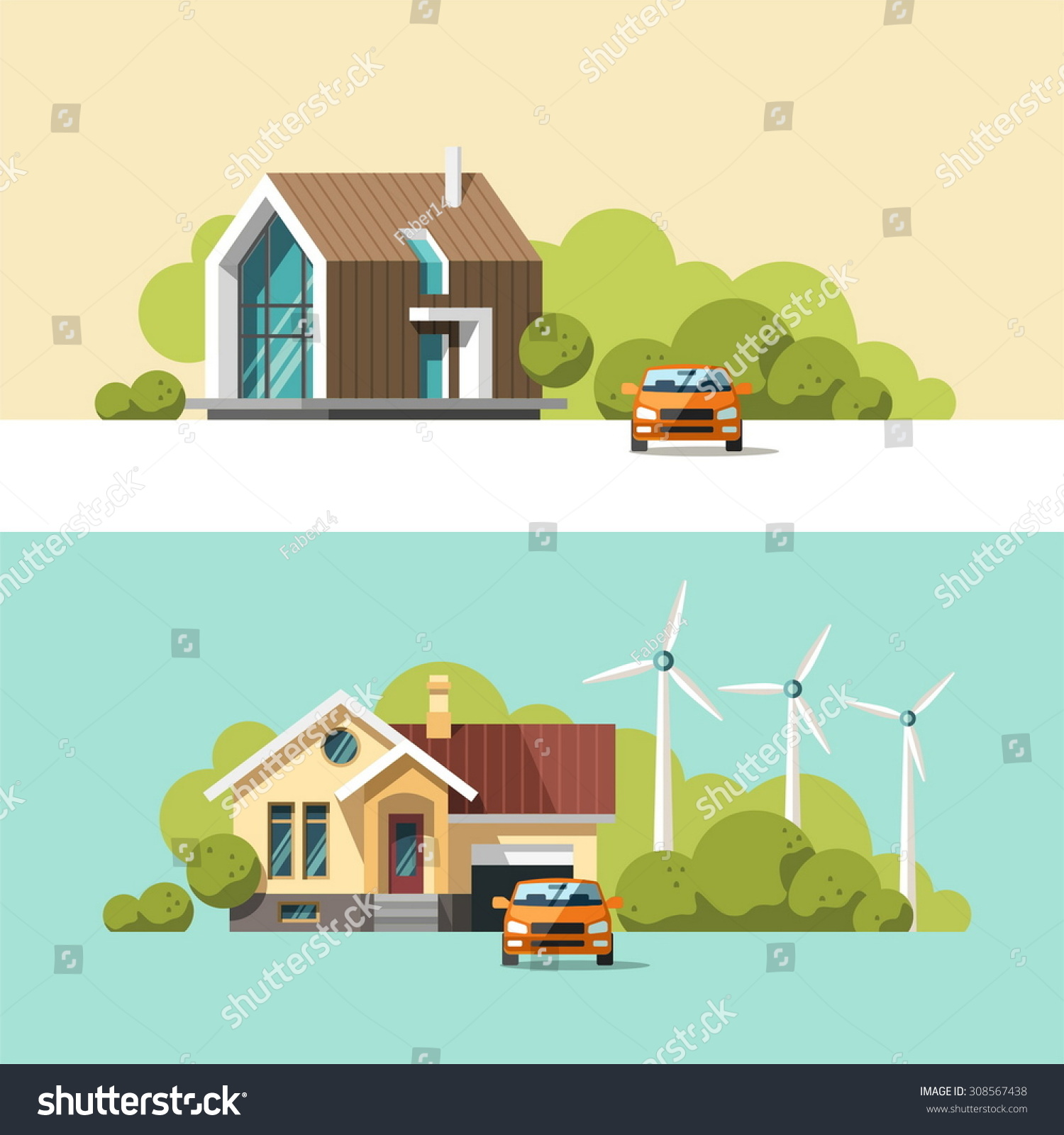 Family home traditional modern house flat stock vector for Modern flat design