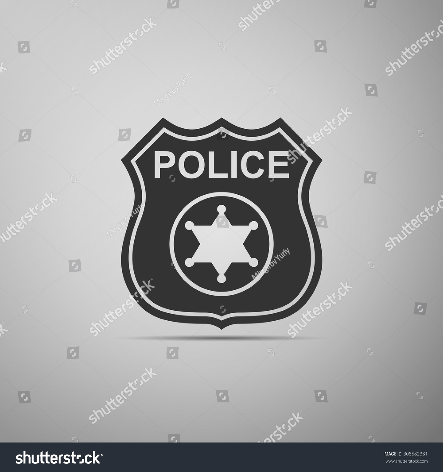 police badge icon on grey background stock vector 308582381