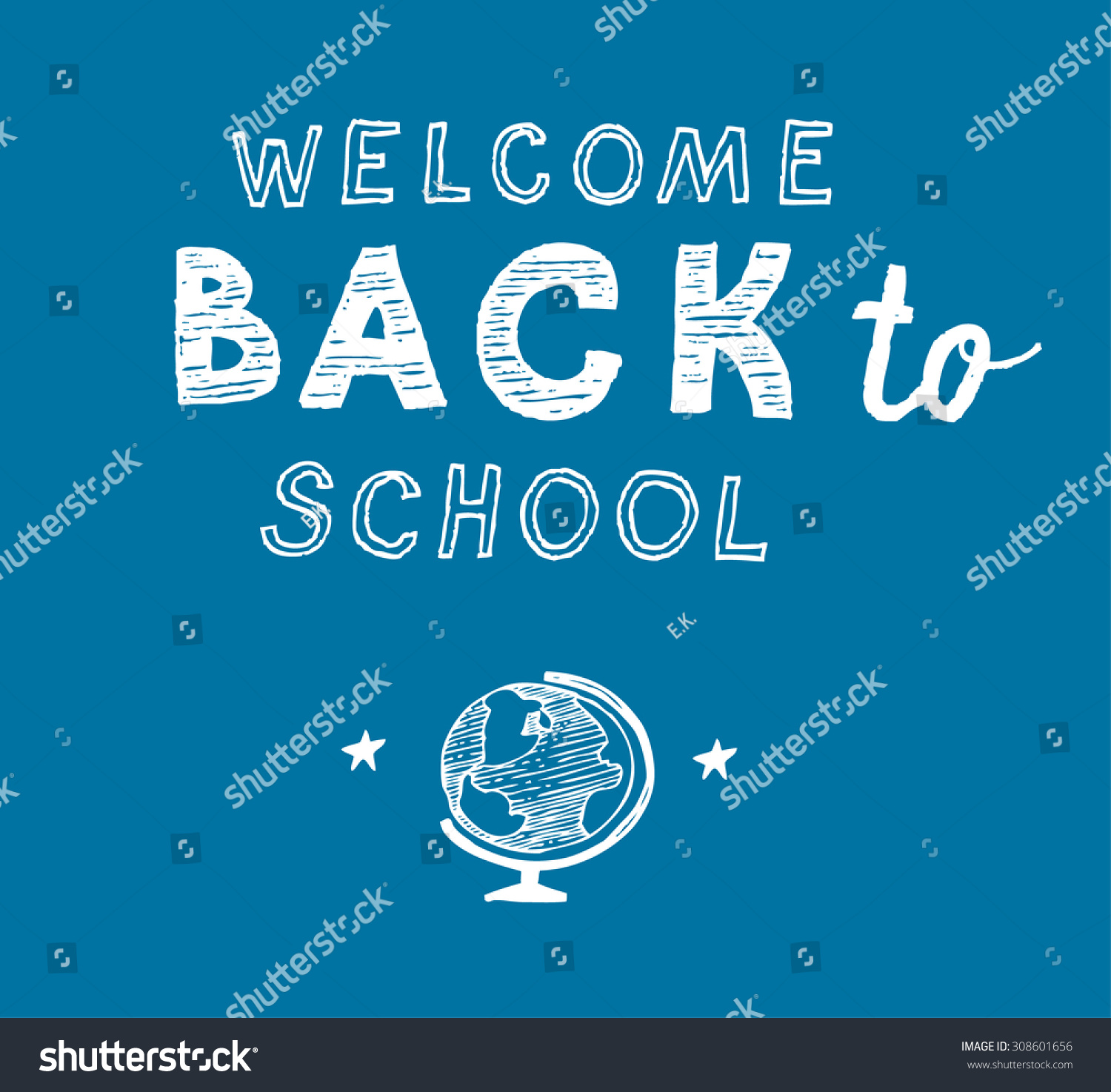 Back School Greetings On Blue Background Stock Vector Royalty Free