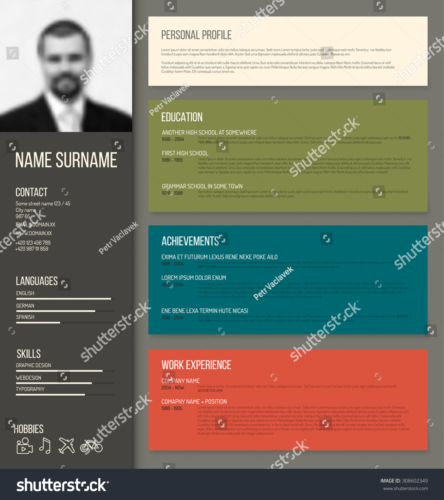 Vector Minimalist Cv Resume Template Design Stock Vector