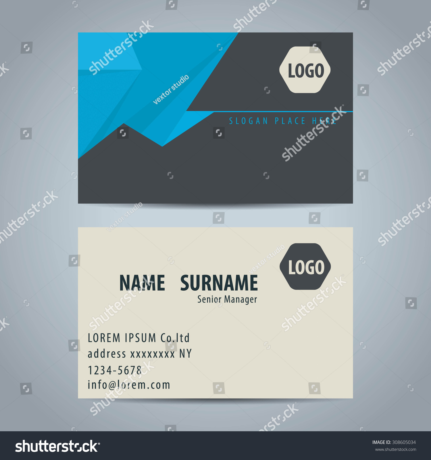 Clean Simple Modern Business Card Template Stock Vector 308605034 ...