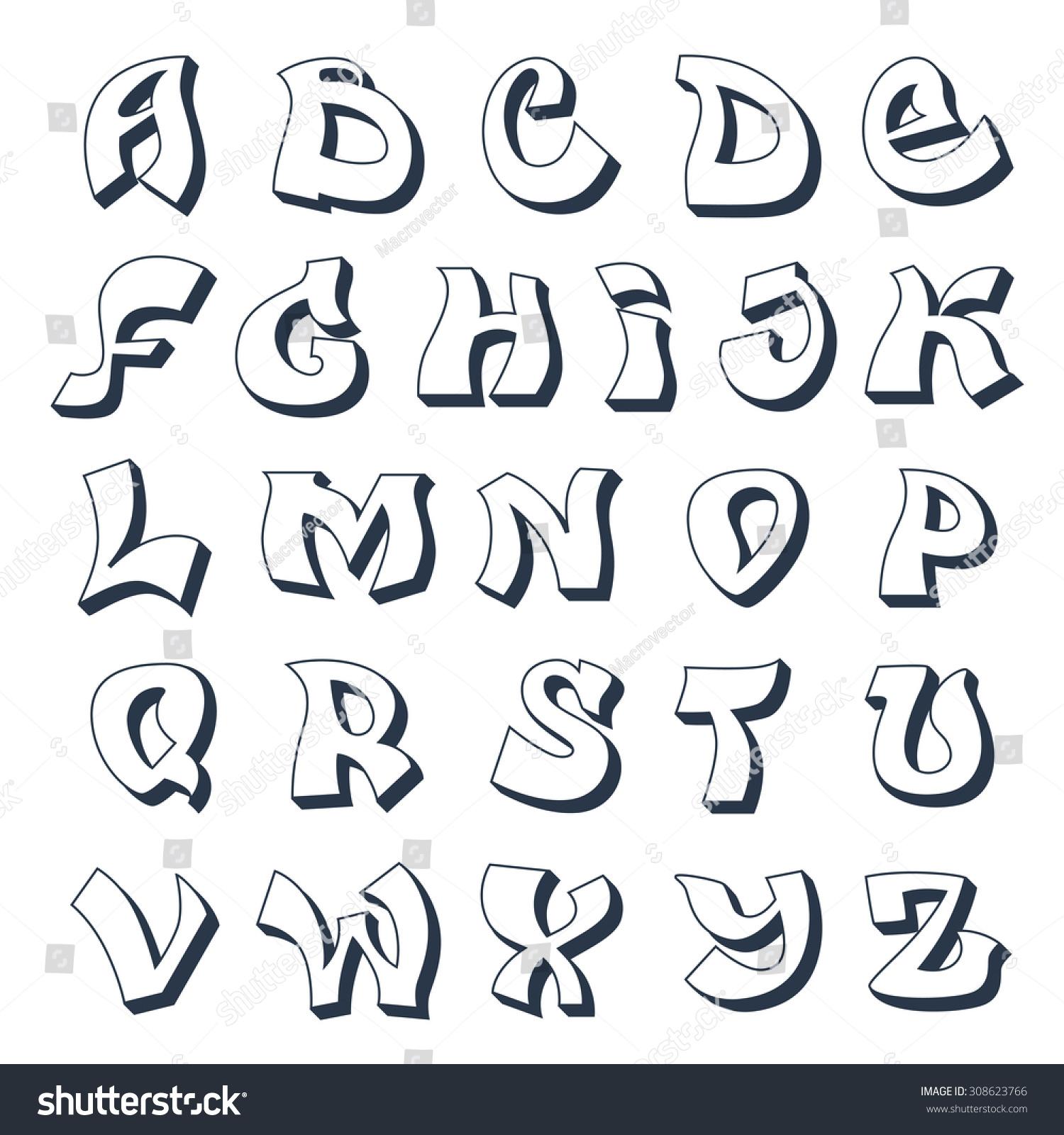 Graffiti alphabet cool street style font design white illustration