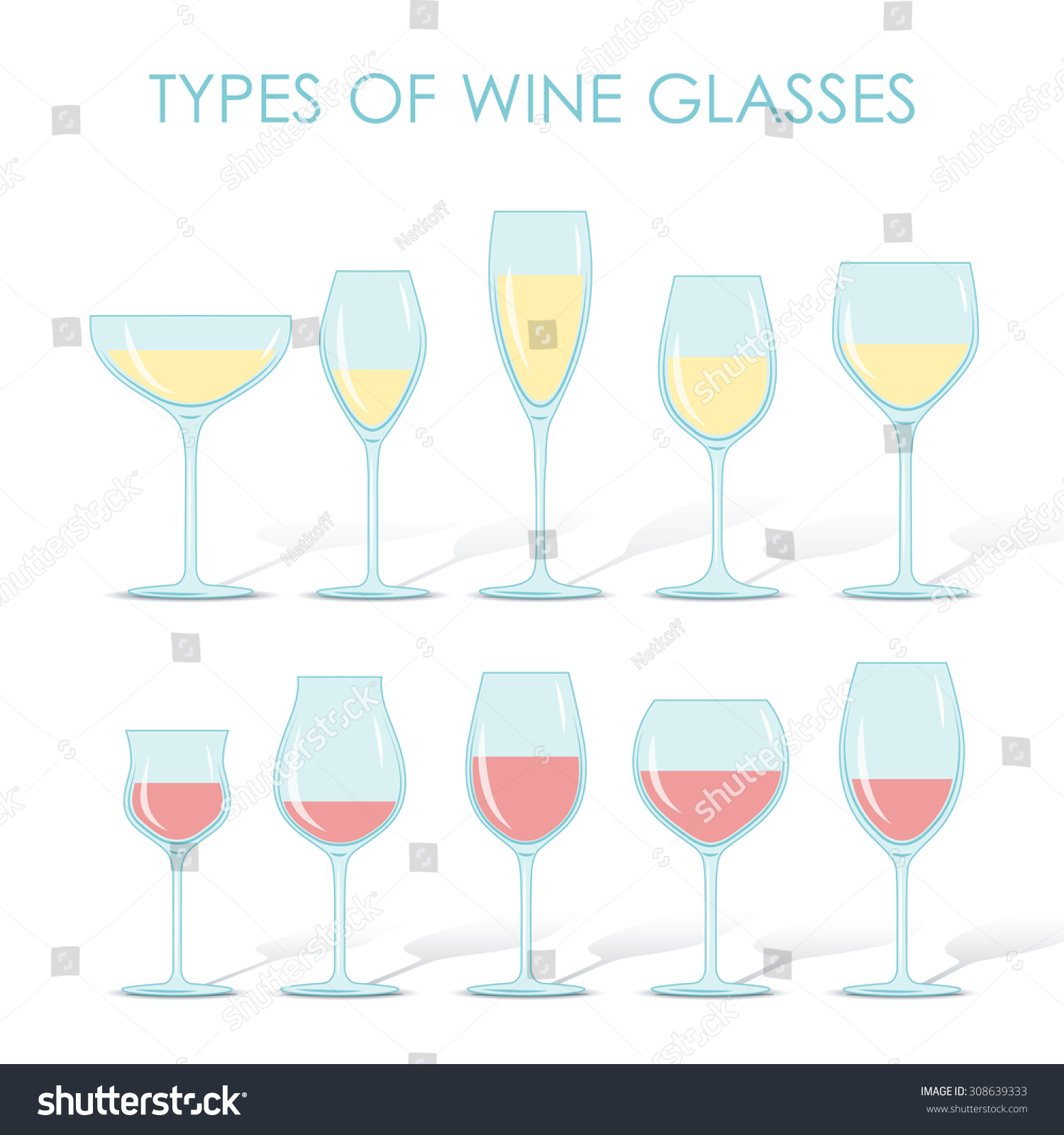 dace47242416 Set of types of wine and glasses red white sparkling and dessert wine