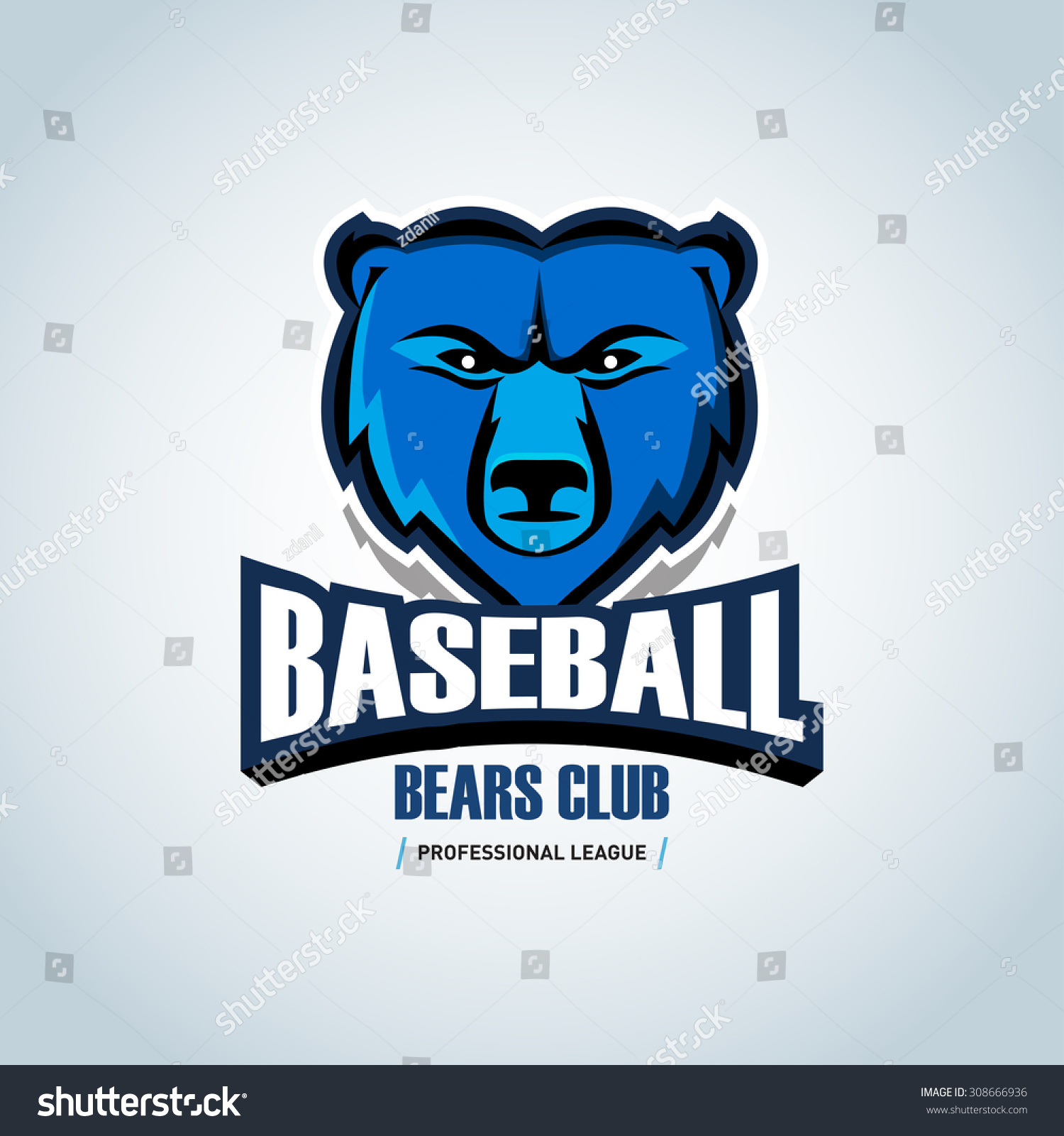 Baseball Bear Sport Badge Logo Design Template And Some Elements For