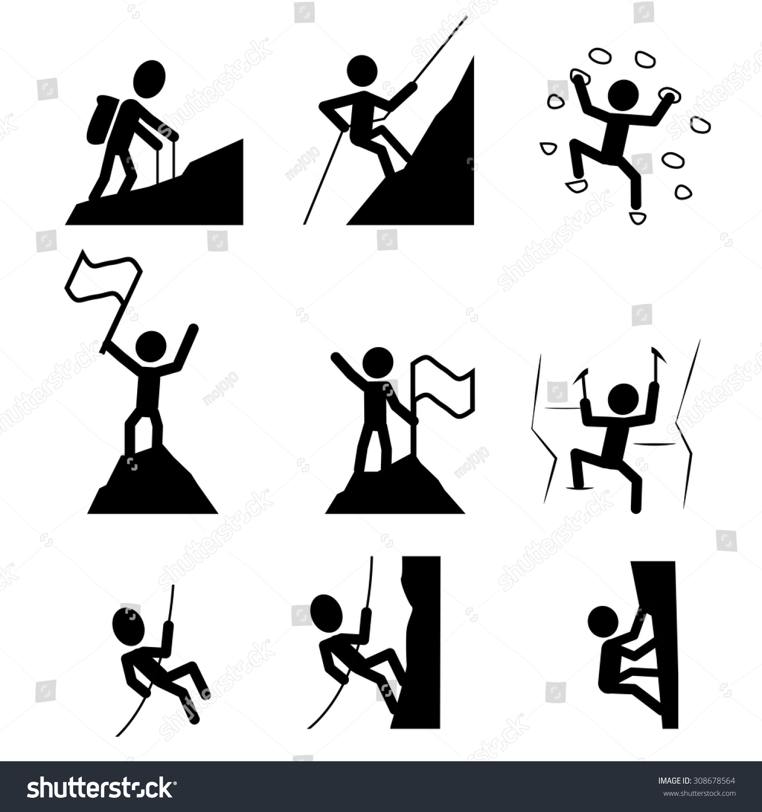 hiking climbing icon set extreme sport stock vector
