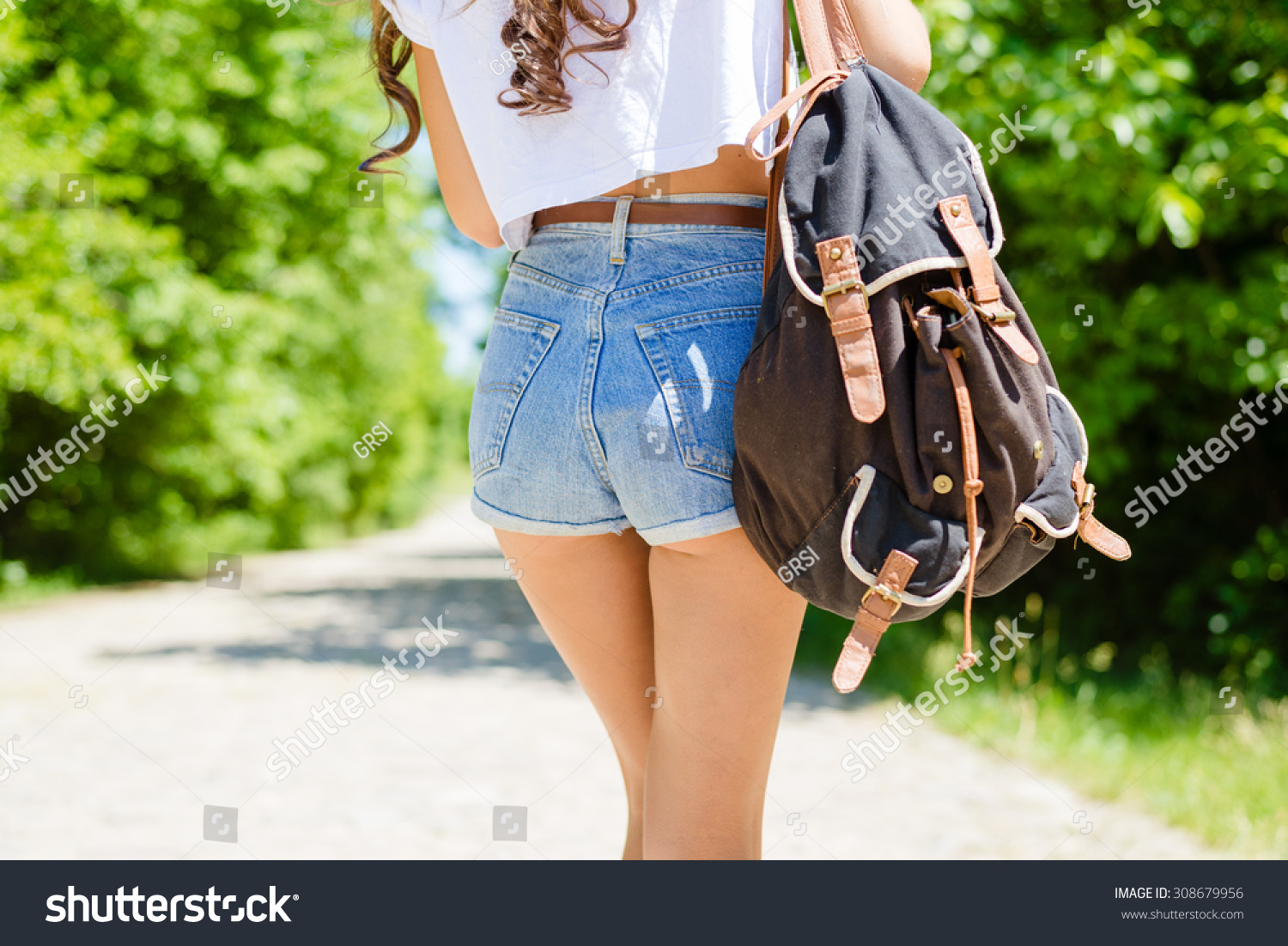 Young Sexy Girl Butts Jeans Shorts Stock Photo 308679956 - Shutterstock-3895