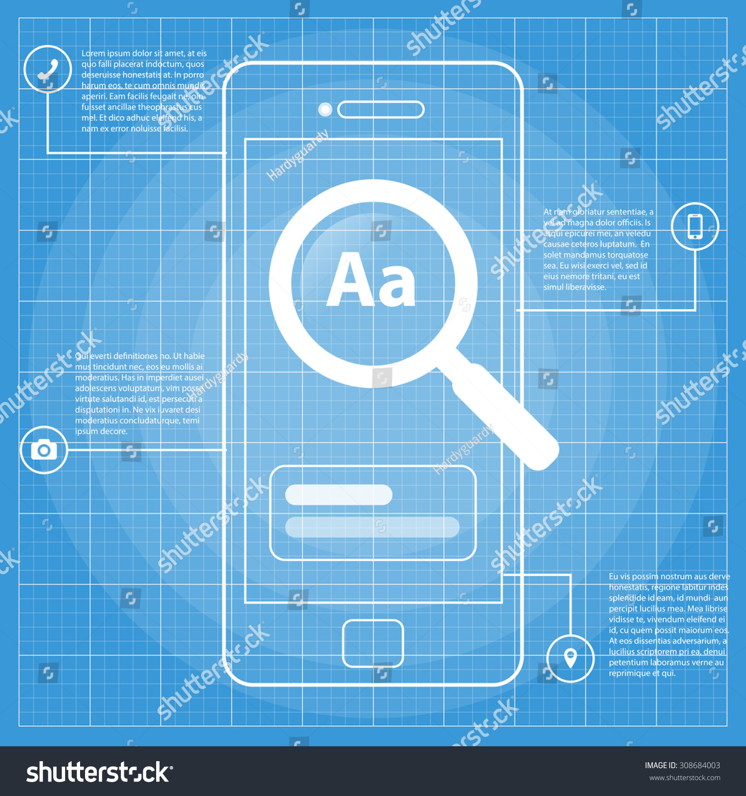 Mobile wireframe blueprint app ui kit stock vector 308684003 mobile wireframe blueprint app ui kit screen search screen which can be used in malvernweather Images