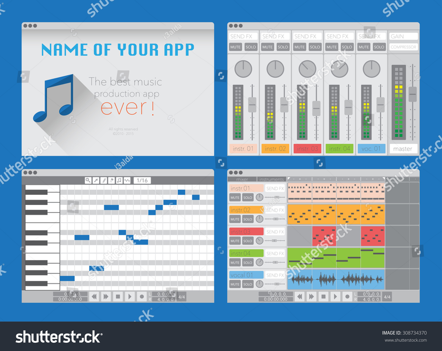 Daw music production software digital audio stock vector 308734370 daw music production software digital audio workstation vector template pronofoot35fo Choice Image