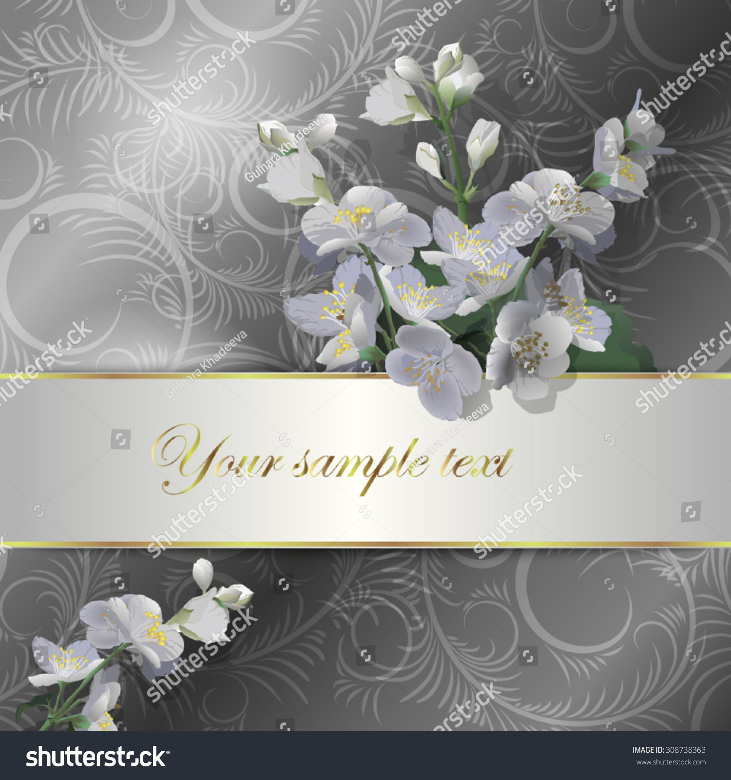Greeting card jasmine flowers place your stock vector 2018 greeting card with a jasmine flowers with place for your text use for izmirmasajfo